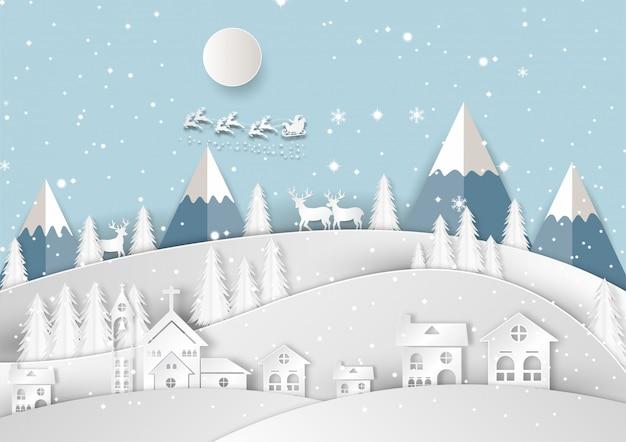 Feliz navidad y feliz año nuevo. arte de papel y estilo artesanal.