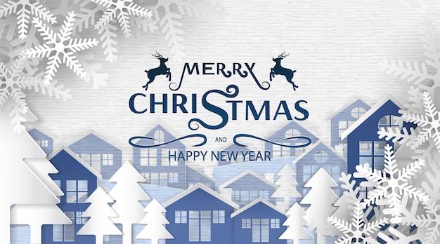 Feliz navidad y feliz año nuevo, arte en papel, publicidad con composición de invierno en papel cortado estilo de fondo,