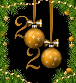 Feliz navidad y feliz año nuevo banner con bolas y cintas y arcos. borde del árbol de navidad con adornos dorados.