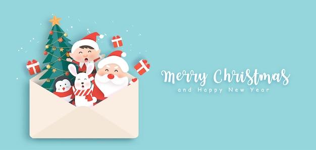 Feliz navidad y feliz año nuevo banner con lindo santa y amigos.