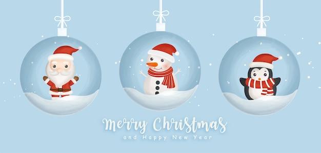 Feliz navidad y feliz año nuevo banner con santa y amigos.