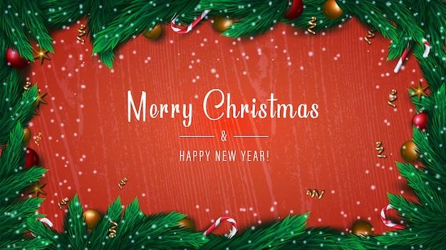 Feliz navidad y feliz año nuevo banner sobre fondo rojo con ramas de abeto