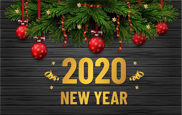 Feliz navidad y feliz año nuevo banner de venta. borde del árbol de navidad con adornos dorados sobre fondo de madera negra. folleto de negocios