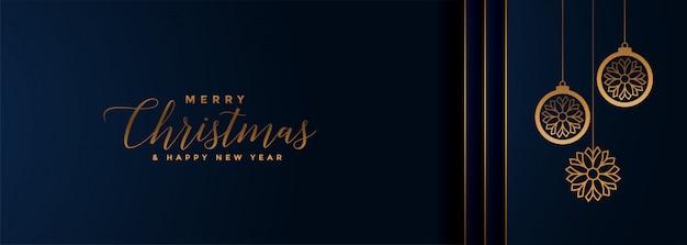 Feliz navidad y feliz año nuevo banner vector gratuito