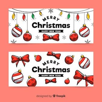 Feliz navidad y feliz año nuevo banners