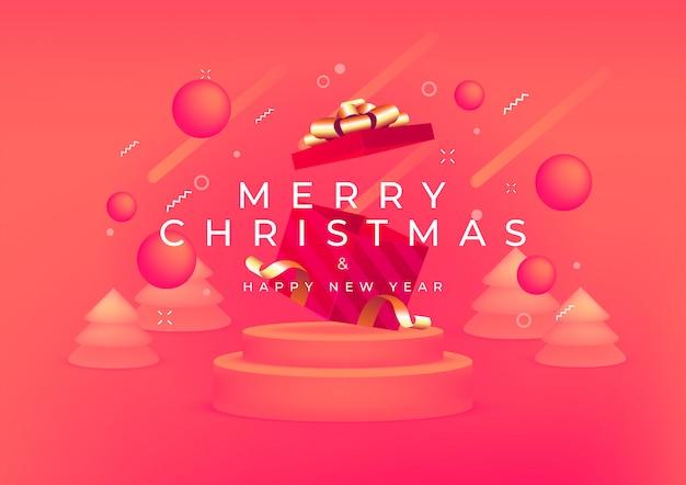 Feliz navidad y feliz año nuevo con caja de regalo roja y banner de cinta dorada.