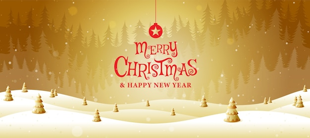 Feliz navidad, feliz año nuevo, caligrafía, oro, fantasía de paisaje.