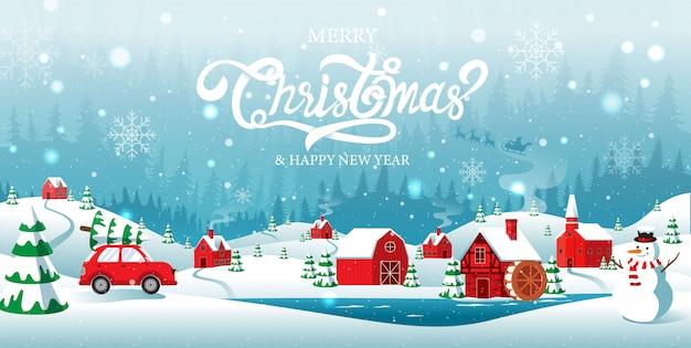 Feliz navidad y feliz año nuevo ciudad natal en el fondo de invierno de forrest