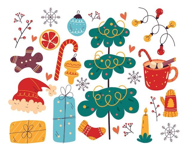 Feliz navidad y feliz año nuevo conjunto de elementos de diseño aislado