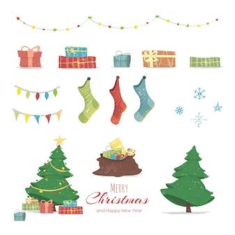 Feliz navidad y feliz año nuevo conjunto de elementos