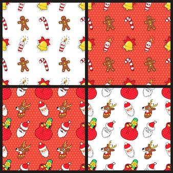 Feliz navidad y feliz año nuevo conjunto de patrones sin fisuras con caramelos de galleta de navidad y santa. papel de regalo de vacaciones de invierno. antecedentes
