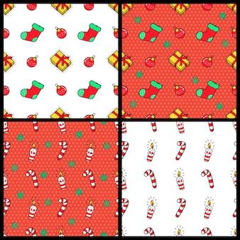 Feliz navidad y feliz año nuevo conjunto de patrones sin fisuras con regalos de navidad, dulces y calcetines. papel de regalo de vacaciones de invierno. antecedentes