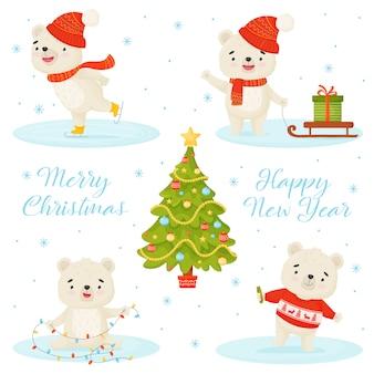 Feliz navidad y feliz año nuevo. conjunto con un personaje oso blanco en diferentes poses, árbol de navidad y letras sobre un fondo blanco.