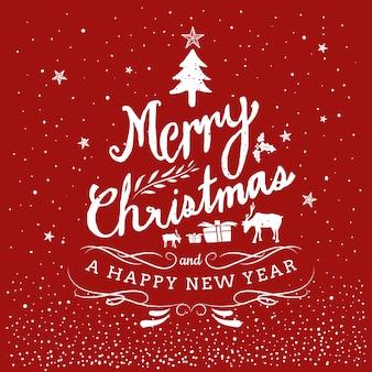Feliz navidad y feliz año nuevo dibujado a mano