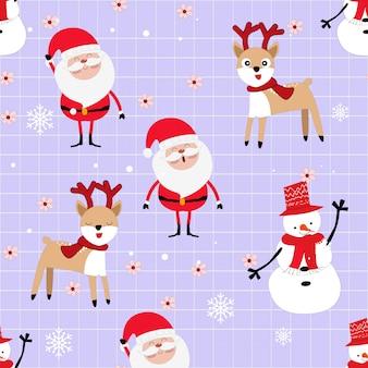 Feliz navidad y feliz año nuevo dibujos animados de patrones sin fisuras