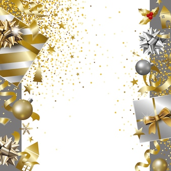Feliz navidad y feliz año nuevo diseño de banner de caja de regalo de lujo con cinta cayendo ba