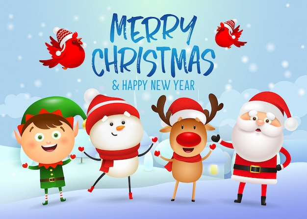 Feliz navidad y feliz año nuevo diseño de banner