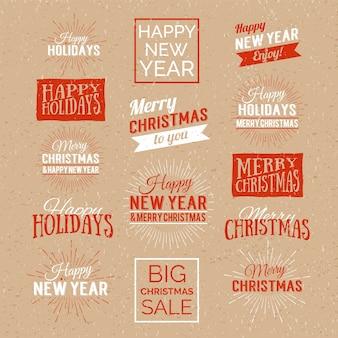 Feliz navidad y feliz año nuevo diseño caligráfico etiqueta. letras de vacaciones