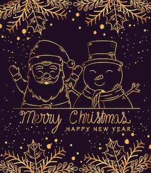 Feliz navidad feliz año nuevo diseño de santa y muñeco de nieve, temporada de invierno y decoración