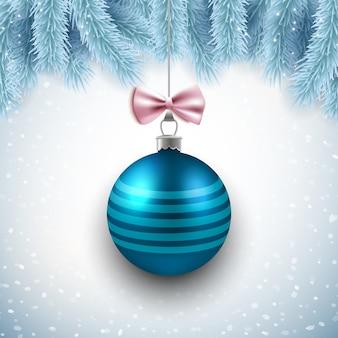 Feliz navidad y feliz año nuevo diseño de tarjeta de vector con azul bola decorativa y ramas de abeto