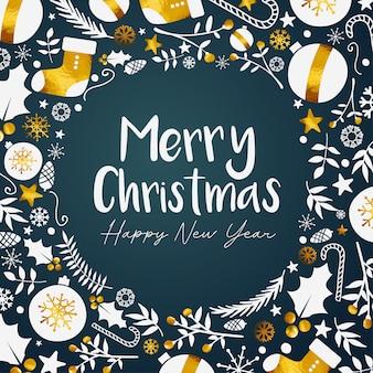 Feliz navidad feliz año nuevo dorado fondo verde azulado oscuro