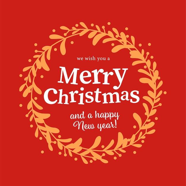Feliz navidad y feliz año nuevo enhorabuena dentro del diseño de corona de muérdago vintage sobre fondo rojo. para tarjetas, invitaciones, envases, banner, etc. ilustración plana de vector.