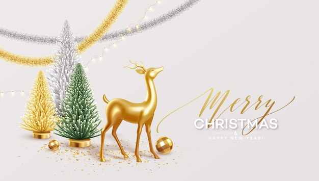 Feliz navidad y feliz año nuevo fondo con decoraciones navideñas realistas.