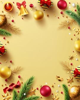 Feliz navidad y feliz año nuevo fondo dorado