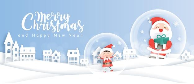 Feliz navidad y feliz año nuevo fondo con lindo santa y elfo en el pueblo de nieve.