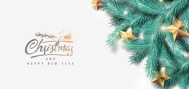 Feliz navidad y feliz año nuevo fondo con ramas de árboles realistas y estrellas doradas.