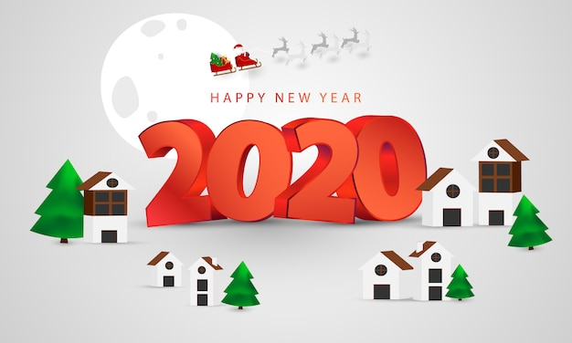 Feliz navidad y feliz año nuevo fondo. santa claus en el cielo
