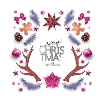 Feliz navidad, feliz año nuevo fondo con símbolos de decoración tradicional