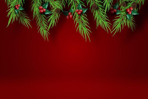 Feliz navidad y feliz año nuevo con fondo de tono rojo.