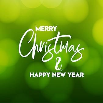 Feliz navidad y feliz año nuevo fondo verde