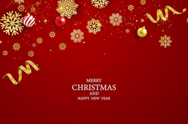 Feliz navidad y feliz año nuevo de fondo.