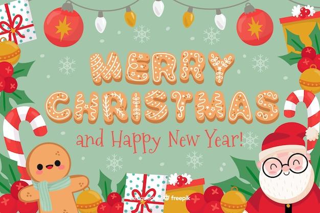 Feliz navidad feliz año nuevo fondo