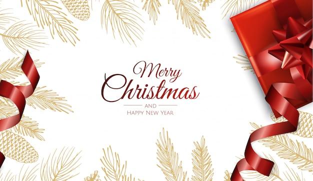 Feliz navidad y feliz año nuevo hojas doradas tarjeta de felicitación