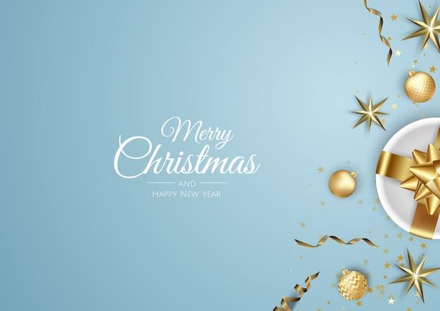 Feliz navidad y feliz año nuevo ilustración de banner blanco de vacaciones.