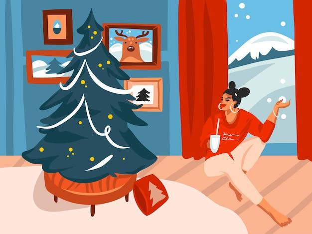 Feliz navidad y feliz año nuevo ilustraciones festivas de dibujos animados
