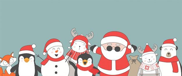 Feliz navidad y feliz año nuevo lindos personajes planos.