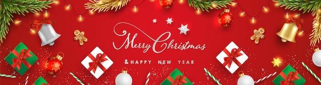 Feliz navidad y feliz año nuevo con objetos festivos realistas.