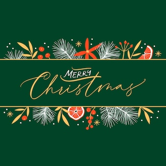 Feliz navidad y feliz año nuevo plantilla de tarjeta floral con caligrafía manuscrita. estilo vintage de moda