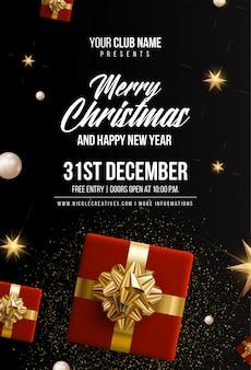 Feliz navidad y feliz año nuevo plantilla de tarjeta de invitación, póster o volante negro