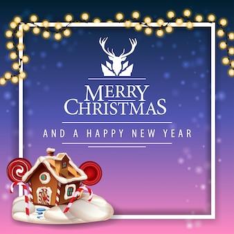 Feliz navidad y feliz año nuevo, postal con hermoso logotipo de saludo con ciervos