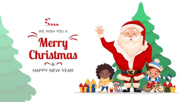 Feliz navidad y feliz año nuevo saludo, diseño de decoración navideña con santa claus, niños felices, gato y regalos.