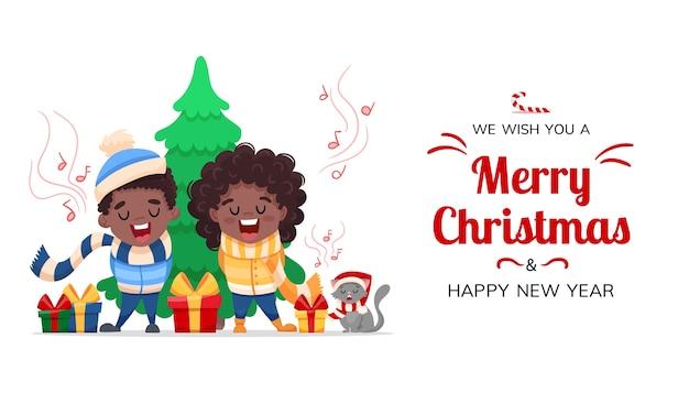Feliz navidad y feliz año nuevo saludo. personajes de dibujos animados, niños negros afroamericanos y gato cantan una canción de villancicos aislados