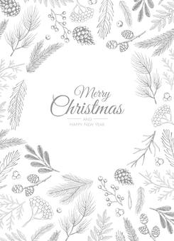 Feliz navidad y feliz año nuevo saludo, ramas de pino diseño dibujado a mano