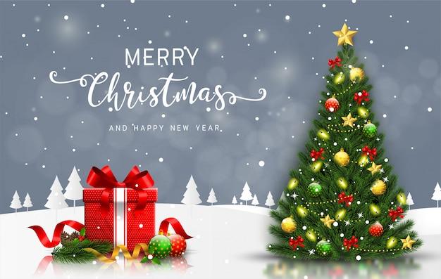 Feliz navidad y feliz año nuevo tarjeta de felicitación con árbol de navidad y caja de regalo vector