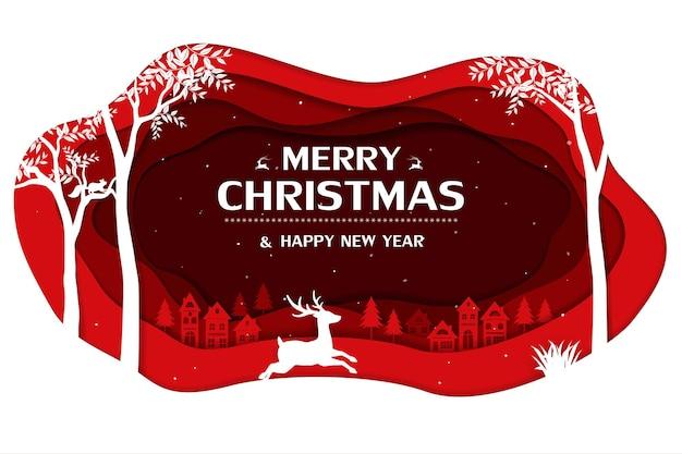 Feliz navidad y feliz año nuevo tarjeta de felicitación con campo sobre fondo de invierno