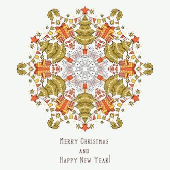 Feliz navidad y feliz año nuevo tarjeta de felicitación. efecto caleidoscopio